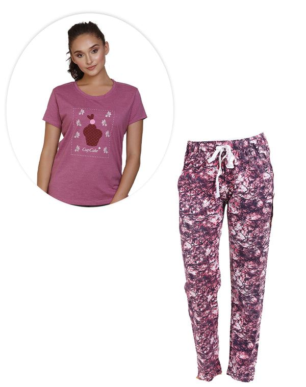 Super soft and comfortable Purple printed pyjama and T-shirt set