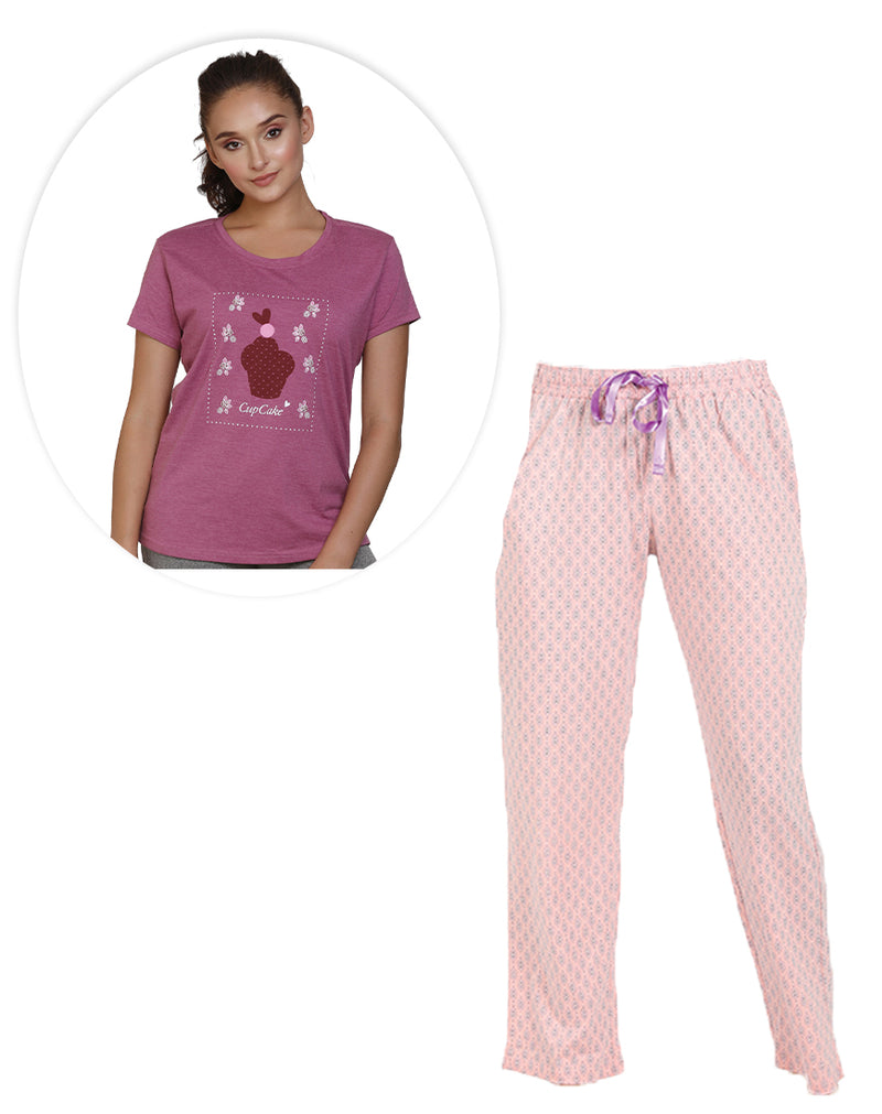 Pink Coordinates - Printed pyjama and T-shirt set