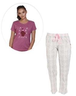 Super soft and comfortable pyjama in light pink & grey color and T-shirt set
