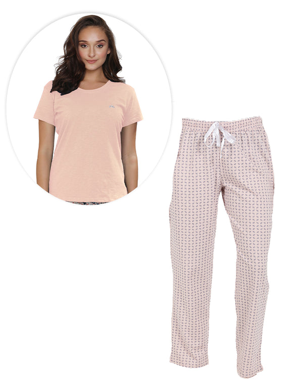 Checkered print pyjama and Plain T-shirt Set