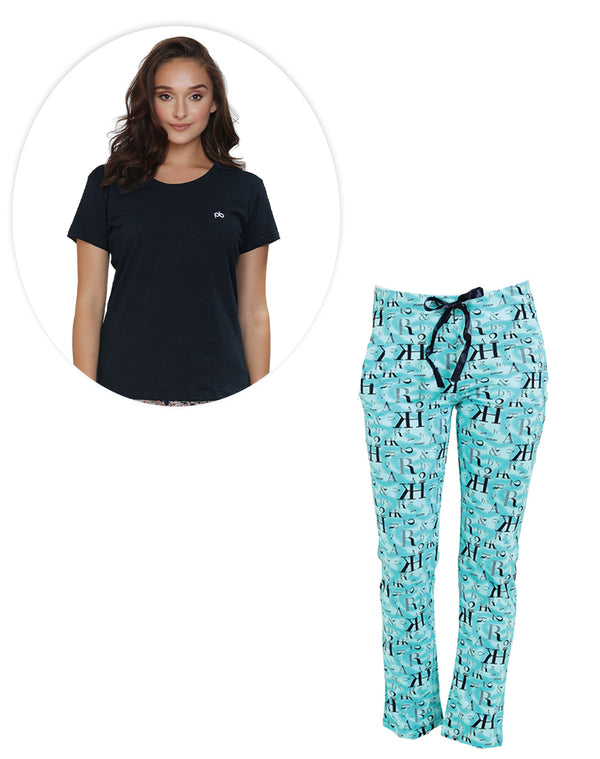 Super soft and comfortable pyjama in aqua green color and plain black T-shirt set