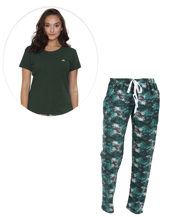 Printed pyjama and plain T-shirt set - Green Coordinates