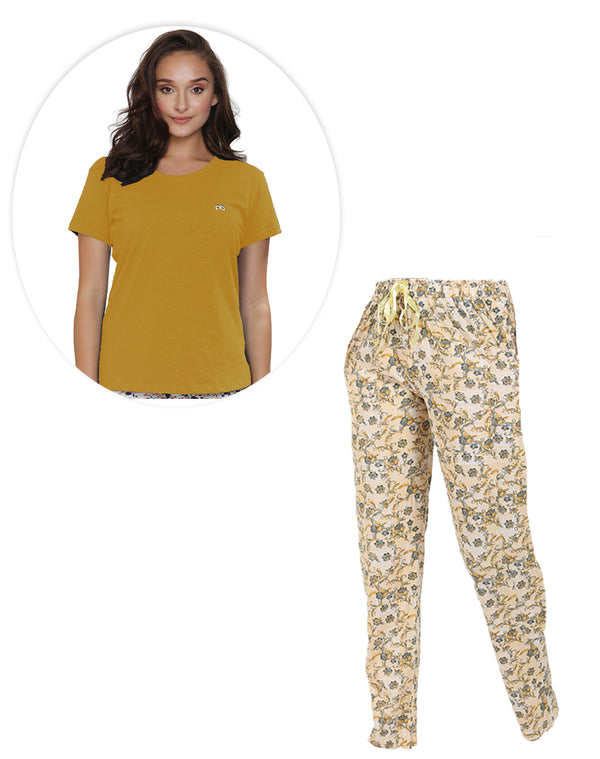 Comfortable floral printed pyjama with mustard T-shirt