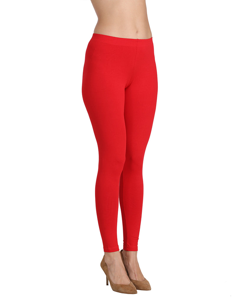 Ankle length Red color leggings