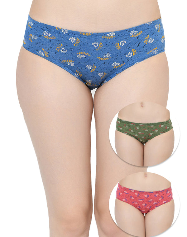 Cotton Rich Printed Regular Mid Waist Panties - Set of 3
