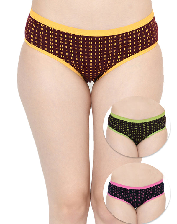 Outer Elastic Mid Waist Cotton Panties - Set of 3
