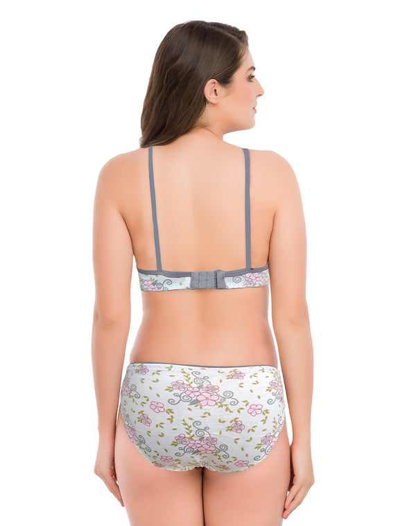 Seamed Non-Padded Cotton Floral Print Bra & Panty Set- Grey