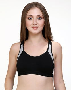 Racerback Extra Support Sports Bra- Black Grey