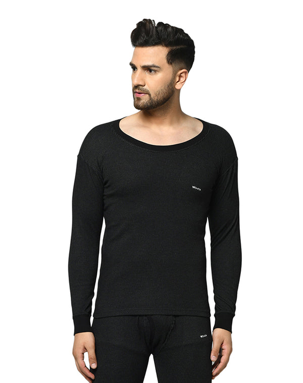 Winta Men's black round neck full sleeve thermal top