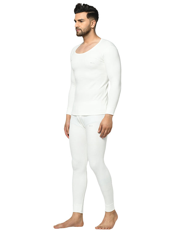 Men pearl white round neck thermal top & bottom Set
