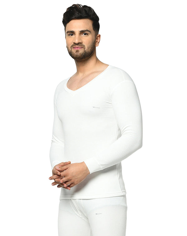 Men pearl white V neck full sleeve thermal top