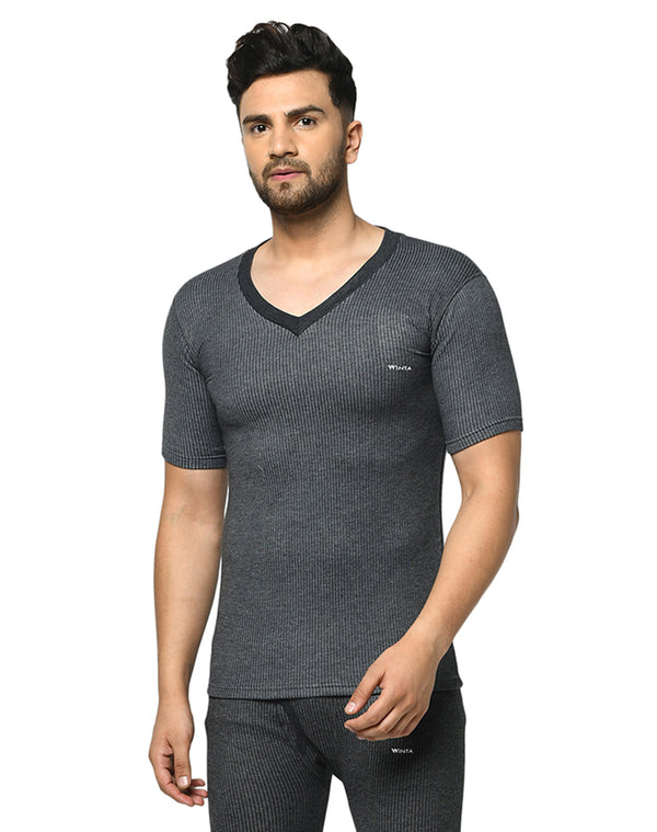 Winta Men's  V neck half sleeve thermal top - Grey