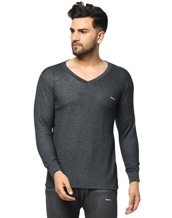 Winta Men's V neck full sleeve thermal top - Grey