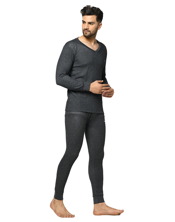 Winta Men's V neck full sleeve thermal top & bottom Set - Grey