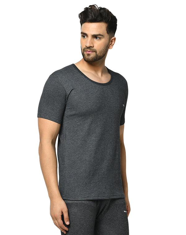 Winta Men's round neck half sleeves thermal top - Grey
