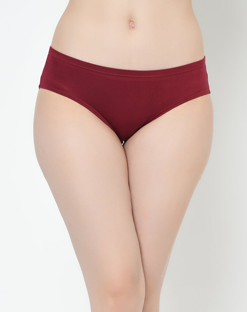 Regular Fit Mid Waist Solid Color Modal Panties - Set of 3