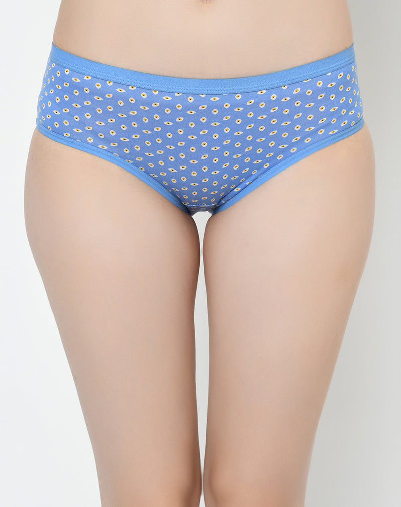 Mid Waist Soft Cotton Printed Panties - Set of 3