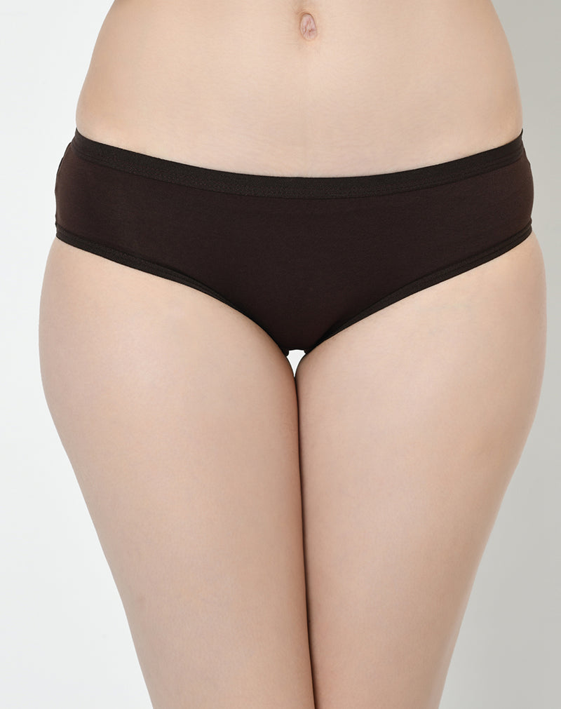 Mid Waist Full Coverage Solid Colors Soft Fabric Panties - Set of 3