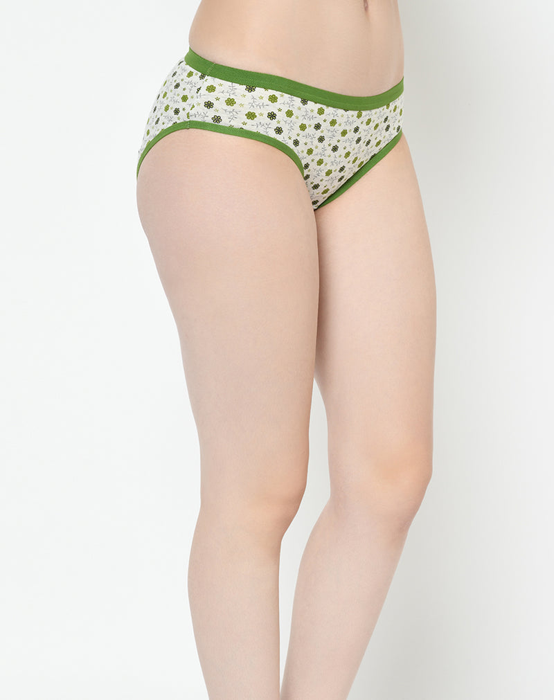 Contrast Color Printed Cotton Bikini Low Waist Panties - Set of 3
