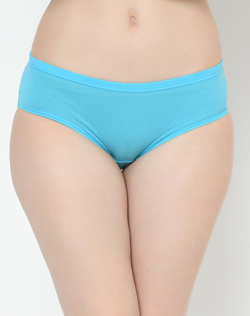 Solid Light Colored Cotton Mid Waist Panties-  Set of 3