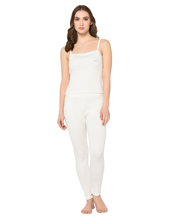 WOMEN PEARL WHITE THERMAL CAMISOLE & BOTTOM SET