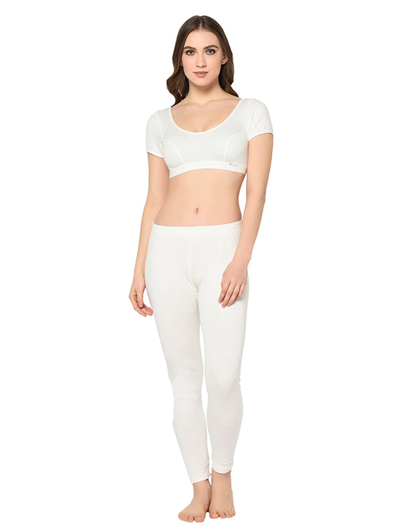 WOMEN PEARL WHITE HALF SLEEVE THERMAL BLOUSE & BOTTOM SET
