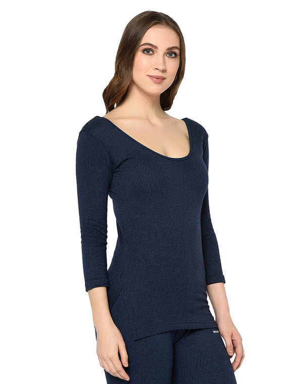 Women navy round neck thermal premium top with ¾ sleeves