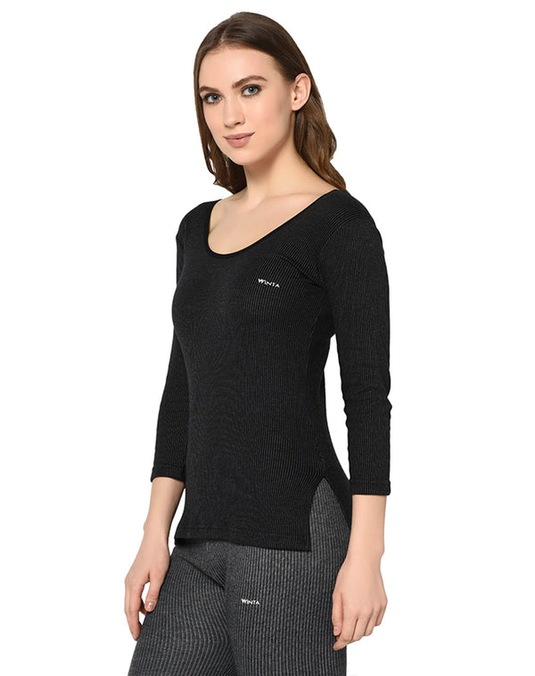 Women black round neck thermal premium top with ¾ sleeves