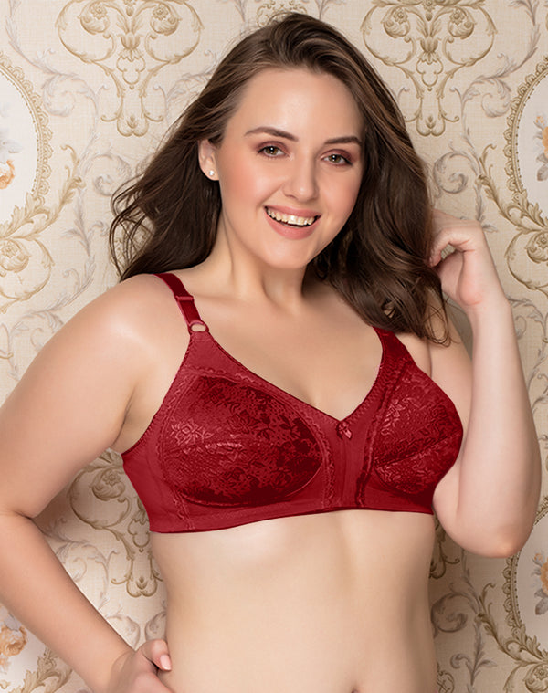 Cotton lycra with lycra lace Full Coverage Bra - Maroon