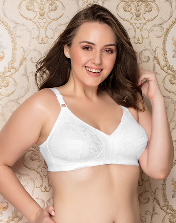 Cotton lycra with lycra lace Full Coverage Bra - WHITE