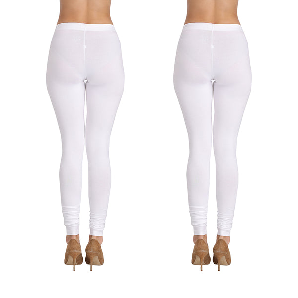 Cotton Lycra Churidar White - Set of 2