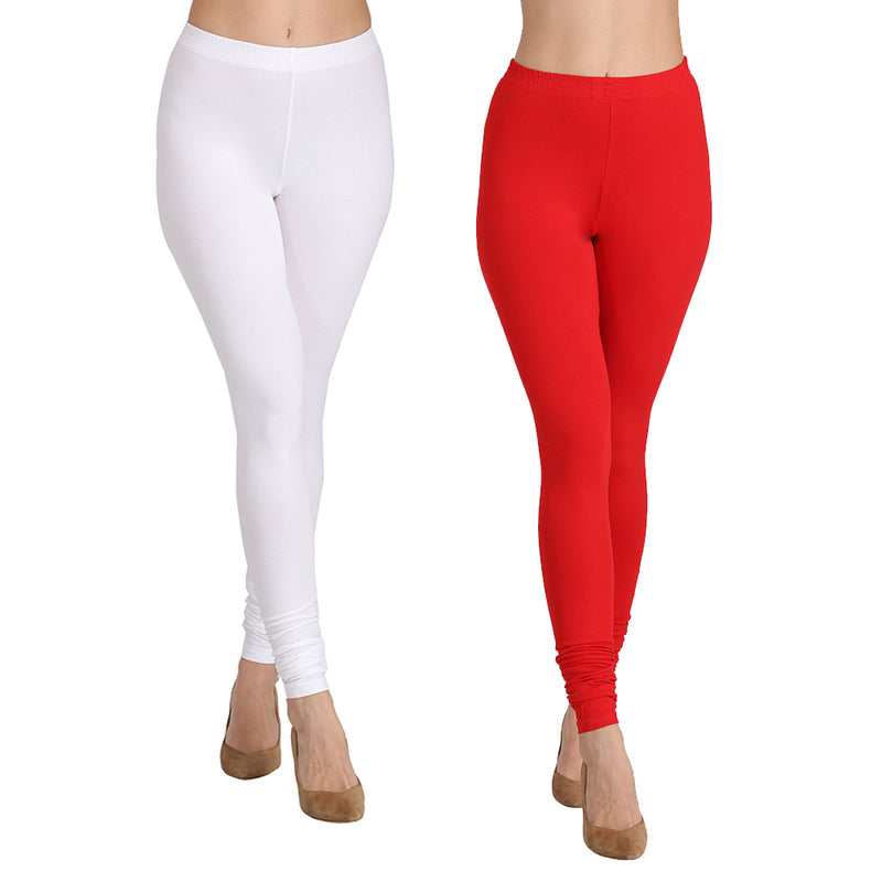 Set of 2 Chudidars - Red & White
