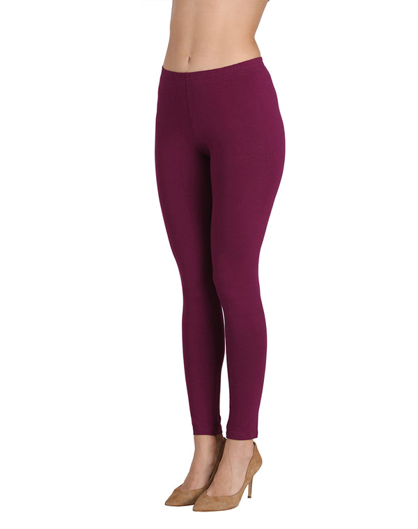 Ankle length bottom wear leggings Wine