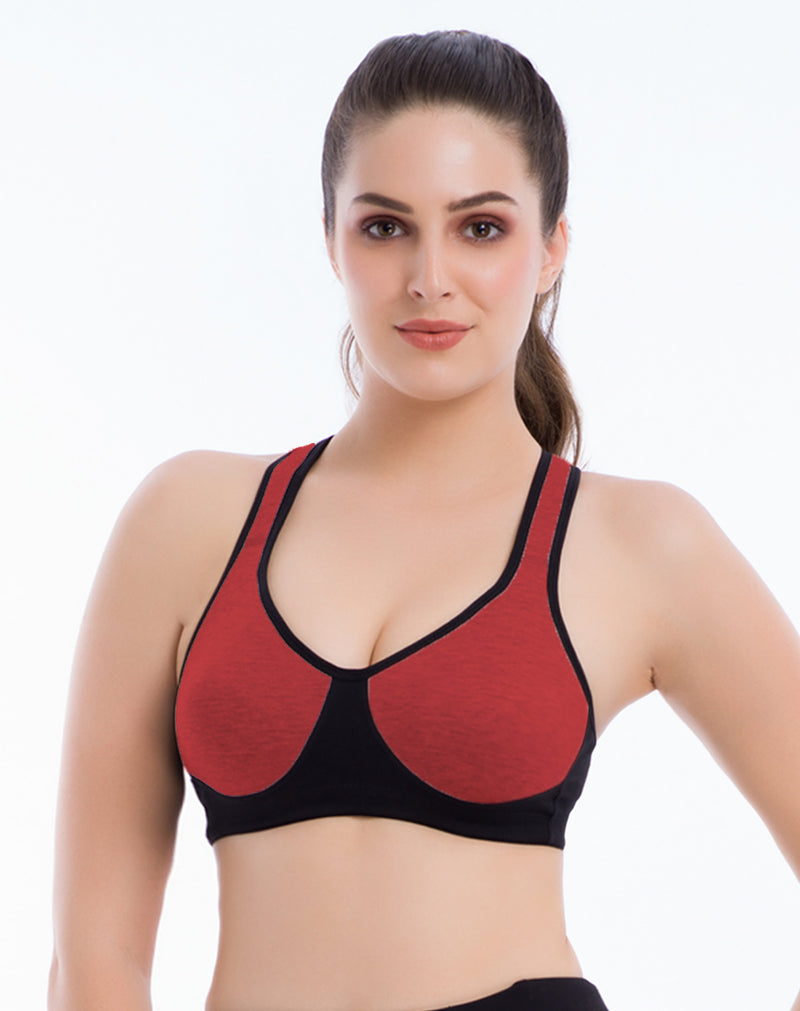 Full Coverage Extra Support Sports Soft Padded Bra- Maroon