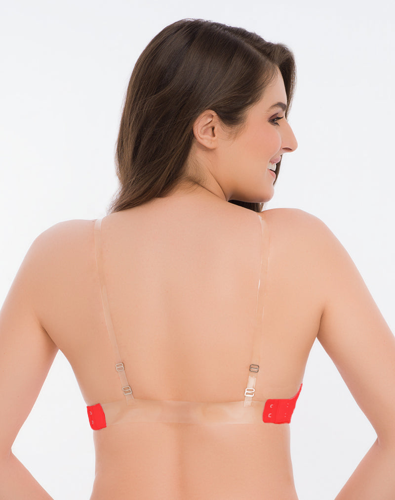 Backless Bra With Transparent Strap-Red