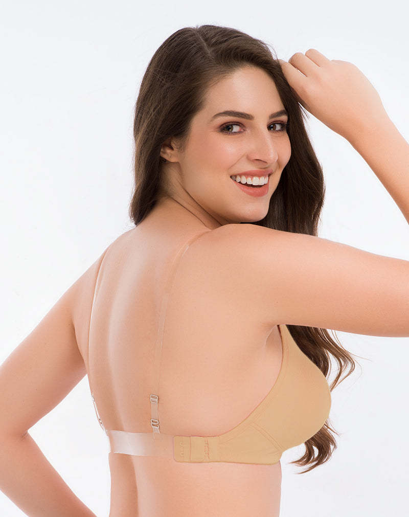 Backless Bra With Transparent Strap-Nude