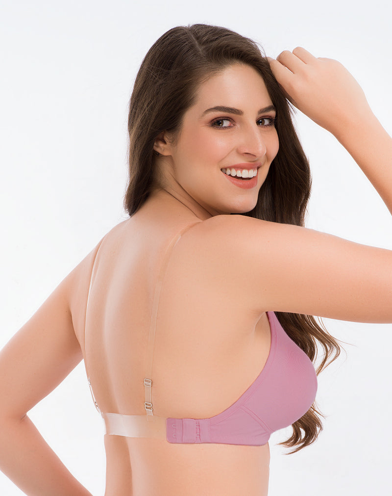 Backless Bra With Transparent Strap-Mauve