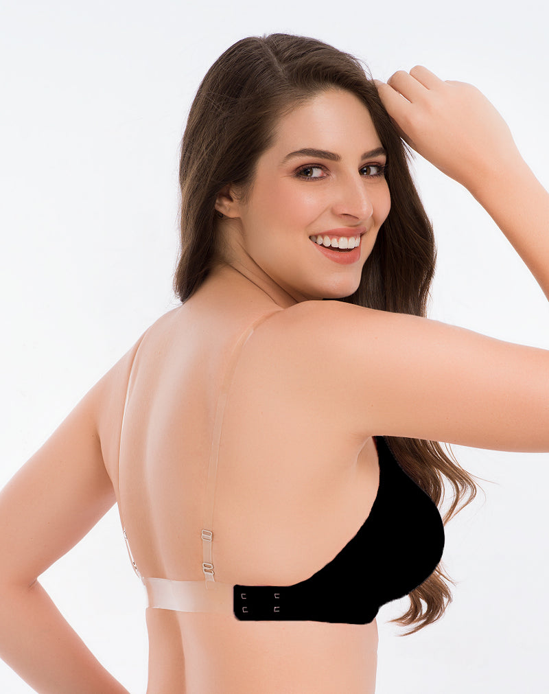 Backless Bra With Transparent Strap-Black