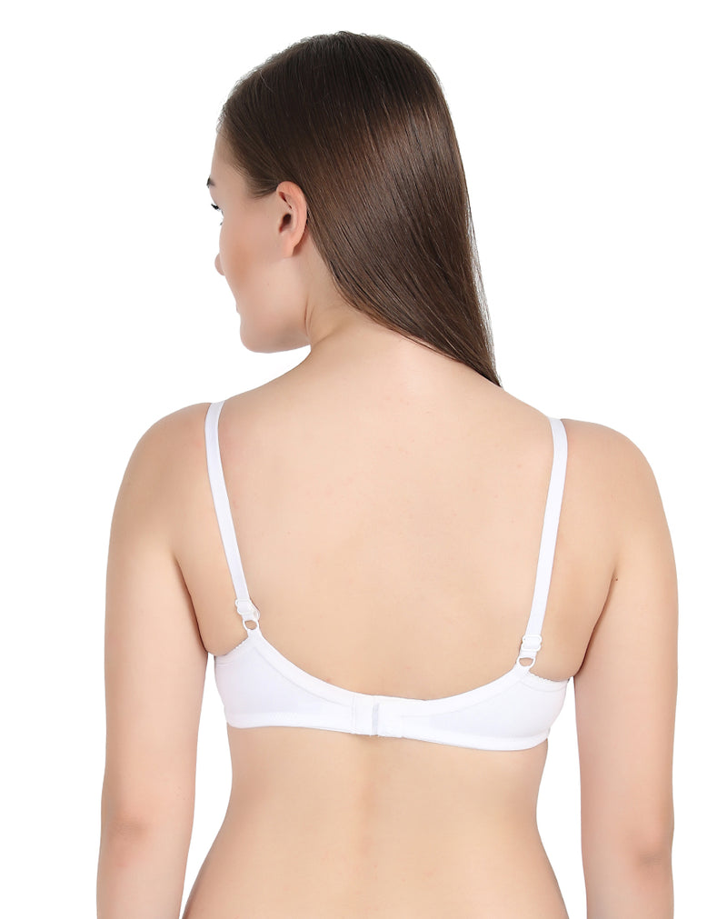 Daisy Foam Seamless Padded Full Coverage Soft Fabric Bra-White