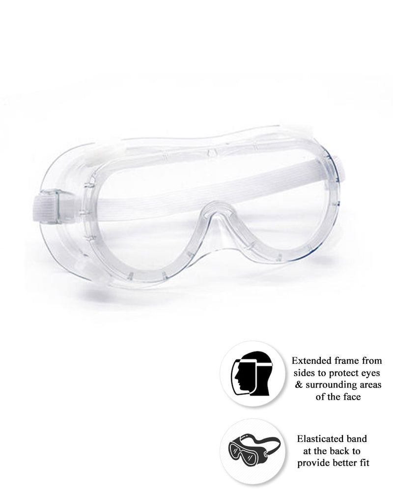 Protective Eye Wear Safety Goggles with Elasticized Head Band (Pack of 50)
