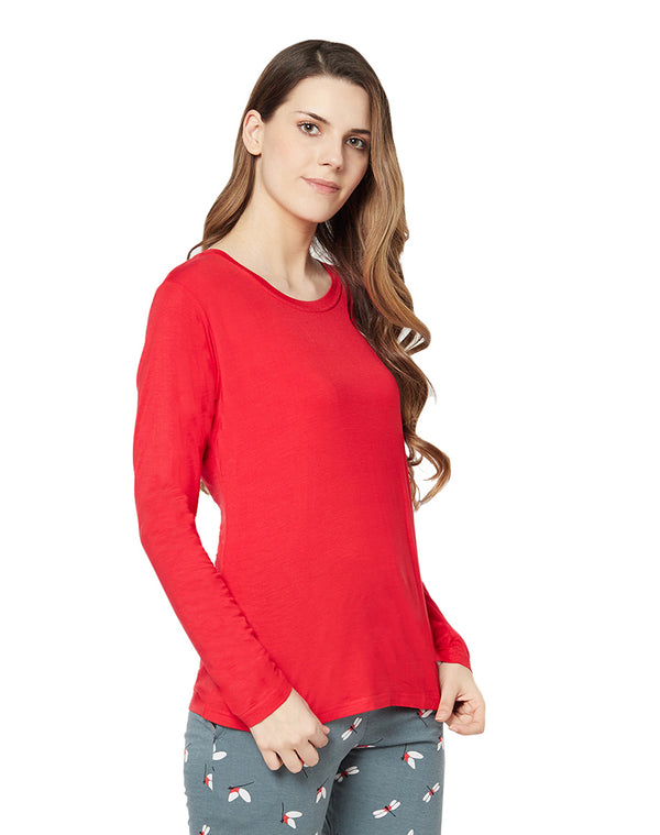 Crew Neck Full Sleeve Plain Micro Modal T-shirt- Red