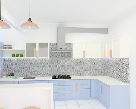 an elegant blue and white modular kitchen created from the best quality material