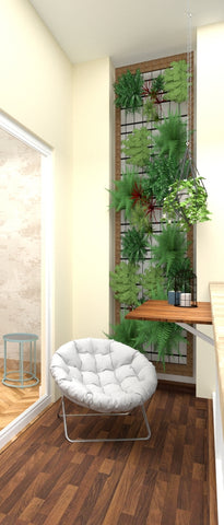 a vertical garden was incorporated in the balcony, which added a pop of green while making the most of the limited space