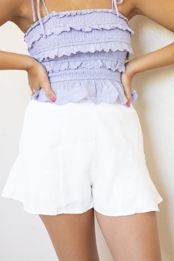 Ivory Butterfly Shorts