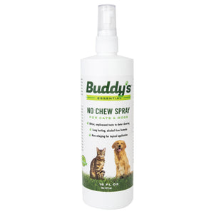 Buddy's Essential No Chew Spray For Dogs and Cats -  16 oz Bitter Spray for Puppies, Kittens- Pet Deterrent for Chewing, Biting, Licking, Alcohol-Free