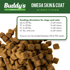 Buddy's Essential Dog Supplements and Dog Vitamins, Omega Skin and Coat Chews for Dogs and Cats - 180 Soft Chews - Rich with EPA and DHA- Salmon Fish Oil - Supports Healthy Skin and Coat