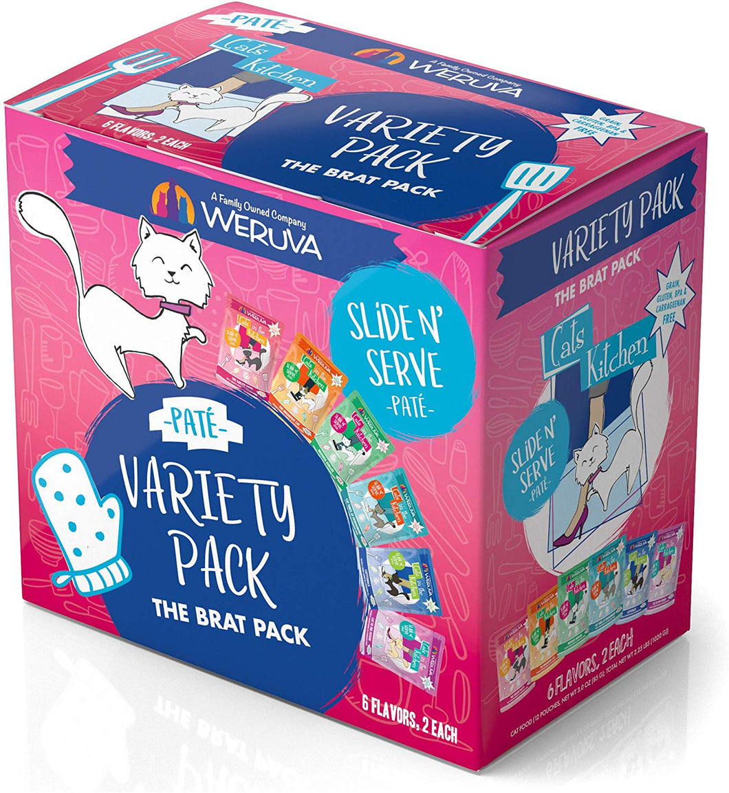 Weruva Cats in the Kitchen Slide N' Serve™ Pate The Brat Pack Variety Pack Pouch Cat Food 3 Oz 12 Pouches