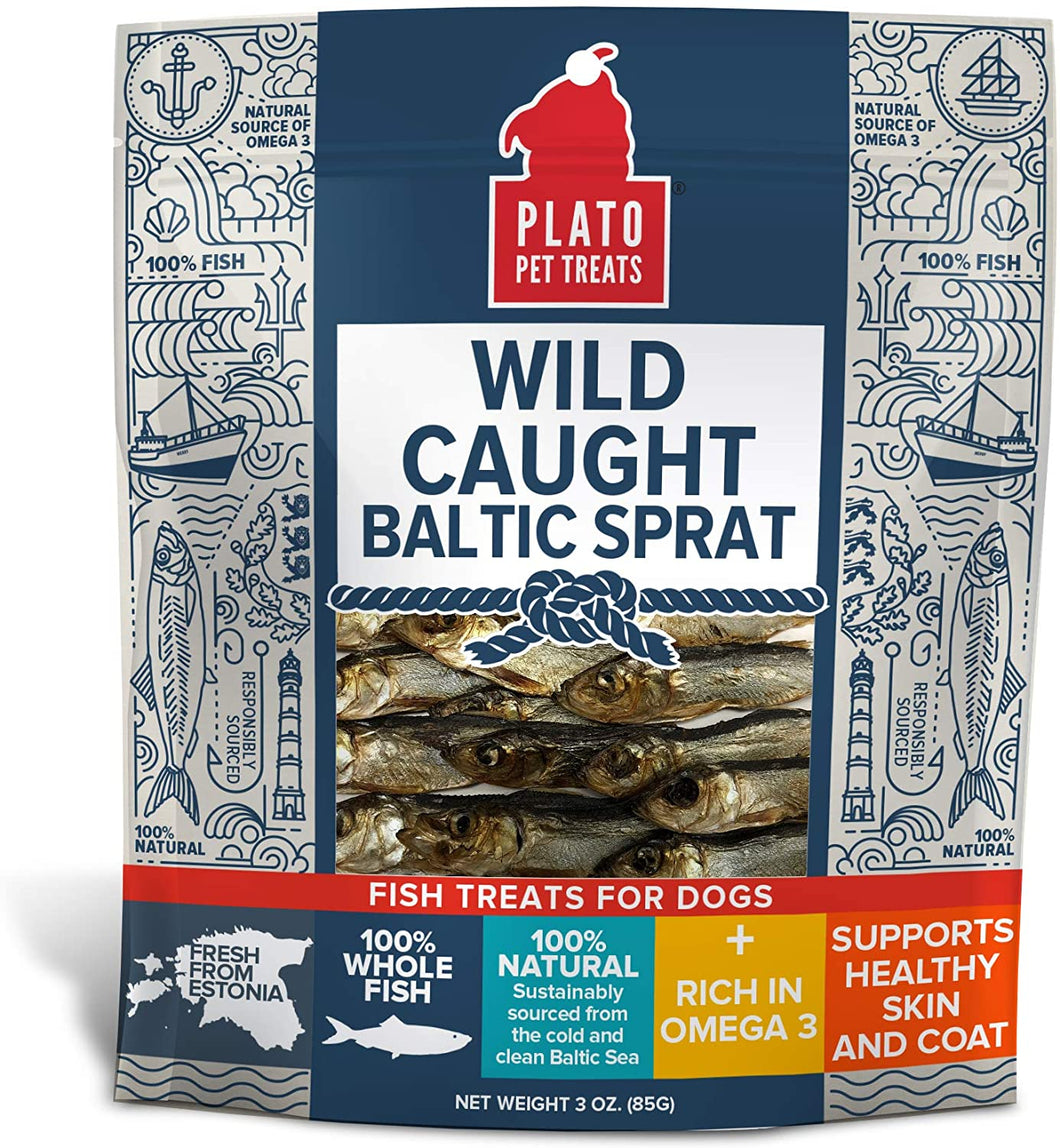 Plato Wild Caught Baltic Sprat Dog Treats - 3 oz