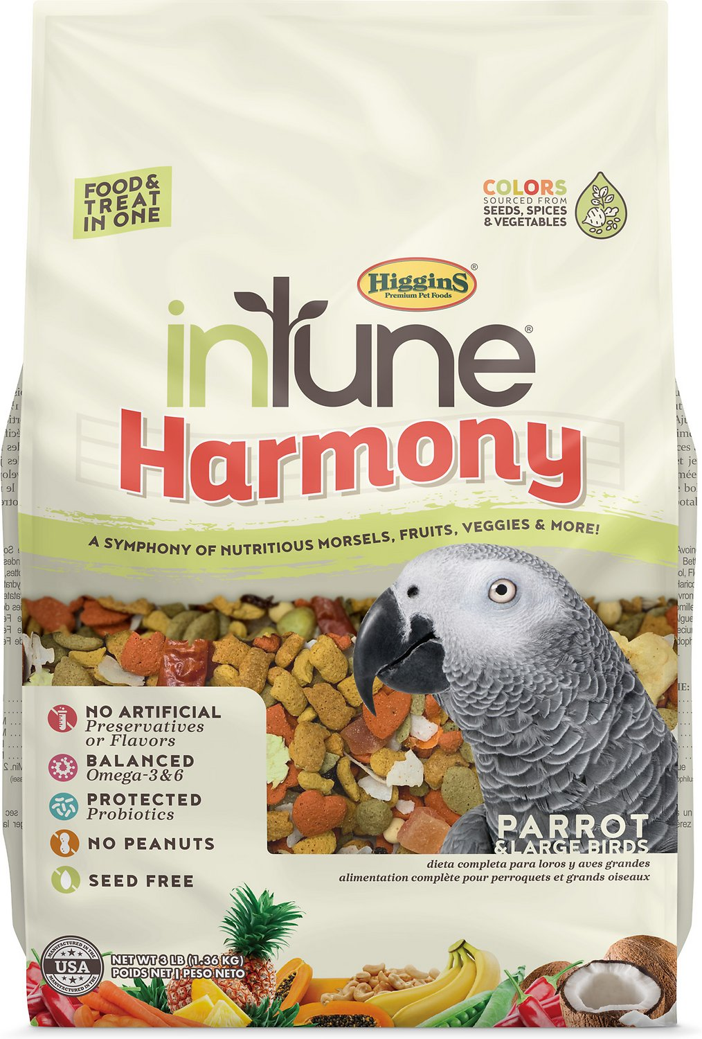 Higgins Intune Parrot and Large Bird Food, 3Lb
