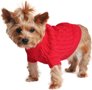 DOGGIE DESIGN Combed Cotton Cable Knit Dog Sweater - Fiery Red